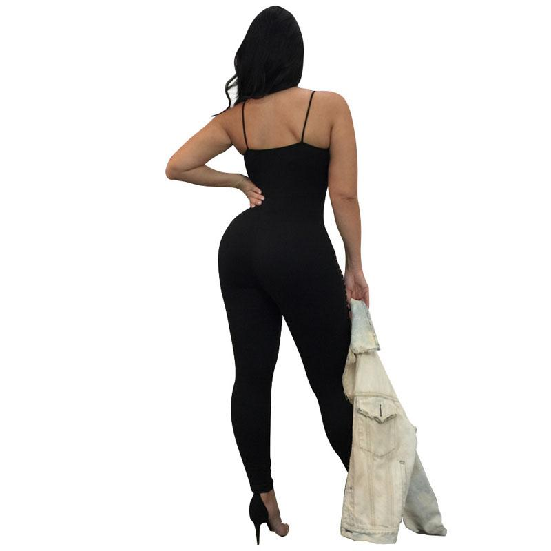 Spaghetti Strap Sexy Skinny Jumpsusit Women V Neck Sleeveless Hollow Bandage Romper Summer Backless Hole Party Catsuit