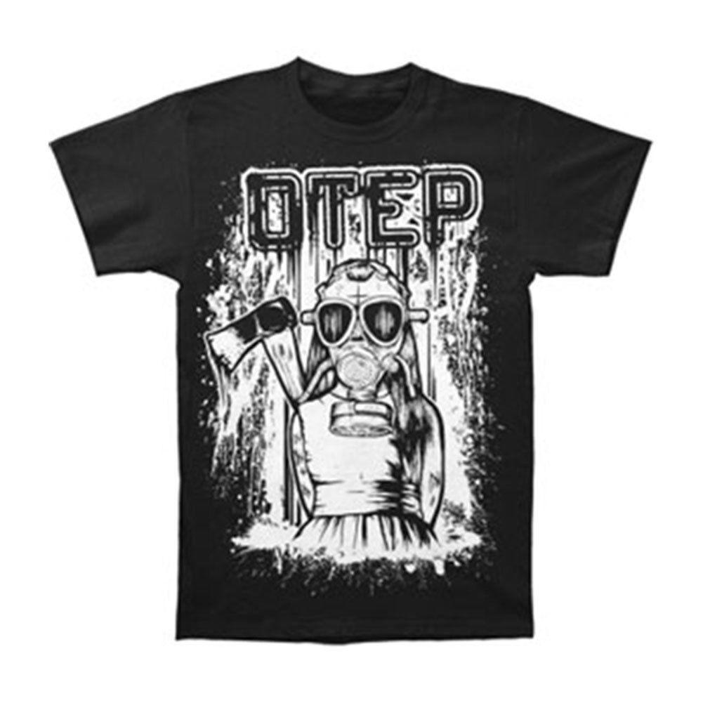 Otep Men& Little Girl Gas Mask T-shirt Black Brand T-shirt Men Fashion Tops & Tees T-shirts