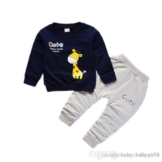 df6e0be10 Spring Autumn Children Boys Girls Cartoon Giraffe Clothes Baby Pure ...