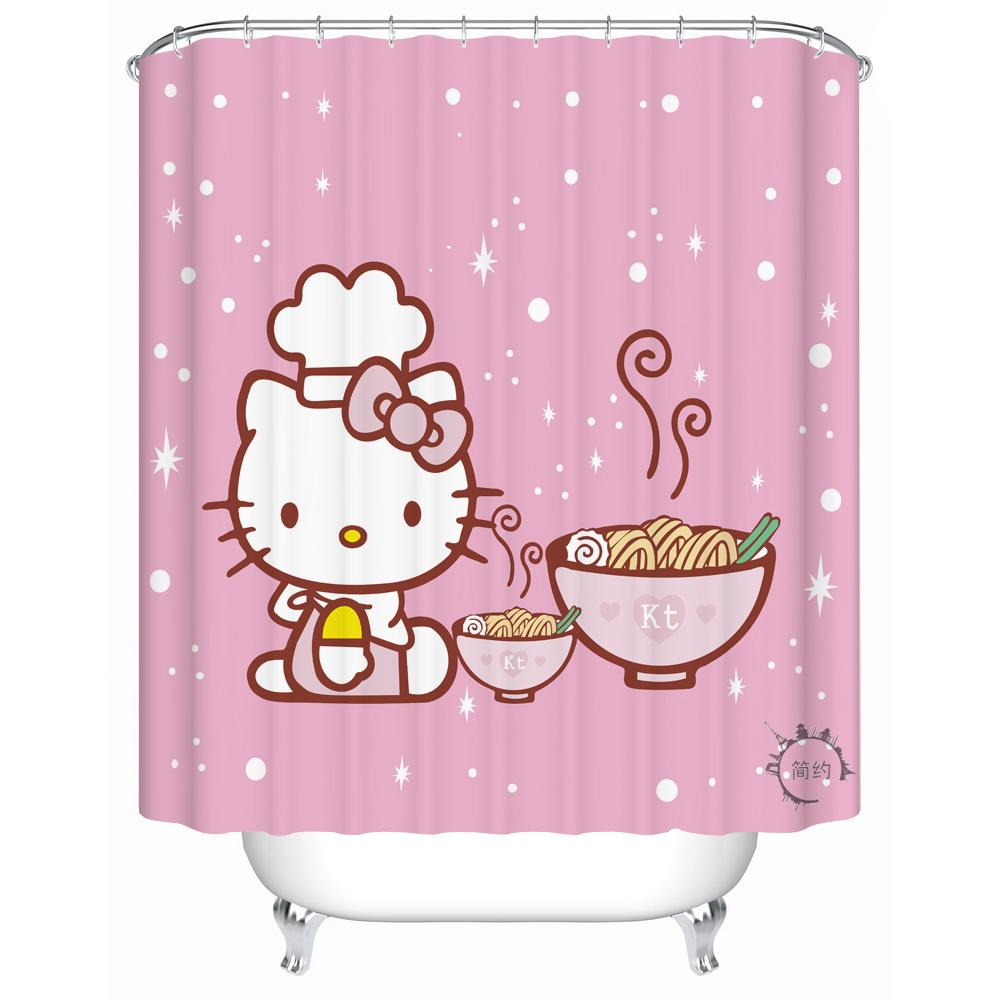 2019 Hello Kitty Shower Curtain Waterproof Bath Kitchen Screen Polyester Rideau De Douche From Hariold 3693