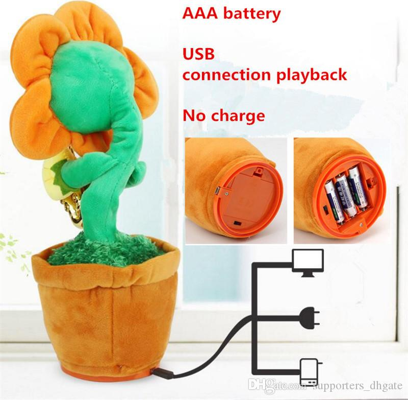 Novelty electric sunflowers Toy singing Music Sexy Musical enchanting Flower Dancing Saxophone Stuffed bluetooth play and build-in 16 songs