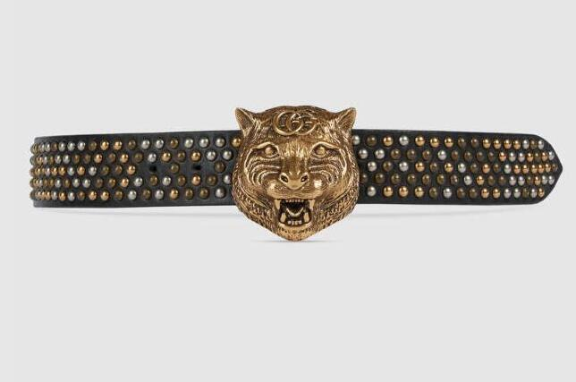 2G buckle belt Bee Snake Dragon Tiger Head Feline Moccasins Leather belt with tiger head Studded belt With Box 400592