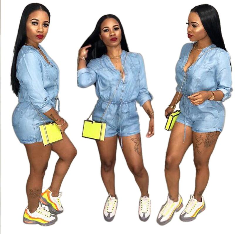 c183b8aad33 2019 Women Long Sleeve Denim Short Jumpsuits Blue High Neck Single Breasted  Button Pockets Drawstring Casual Fashion Tunic Jean Romper Jumpsuit From ...