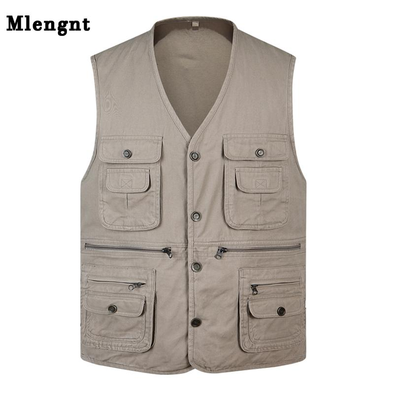 4bbe5a99792a1 Classic Summer Men Vest Cotton Button Multi Pocket Sleeveless Jacket ...
