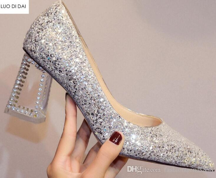 a8cfce6c1319 2018 New Women Glitter High Heels Clear Heel Diamond Stud Pumps Party Shoes  Sequin Leather Pumps Wedding Shoes Bling Bling Shoes Dress Shoes For Men  Leather ...