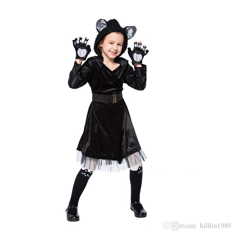 Kid Carnival Stage Show Black Cat Cosplay Uniform Halloween Panther Costume Faux Fur Outfits Animal Fancy Dress For Child