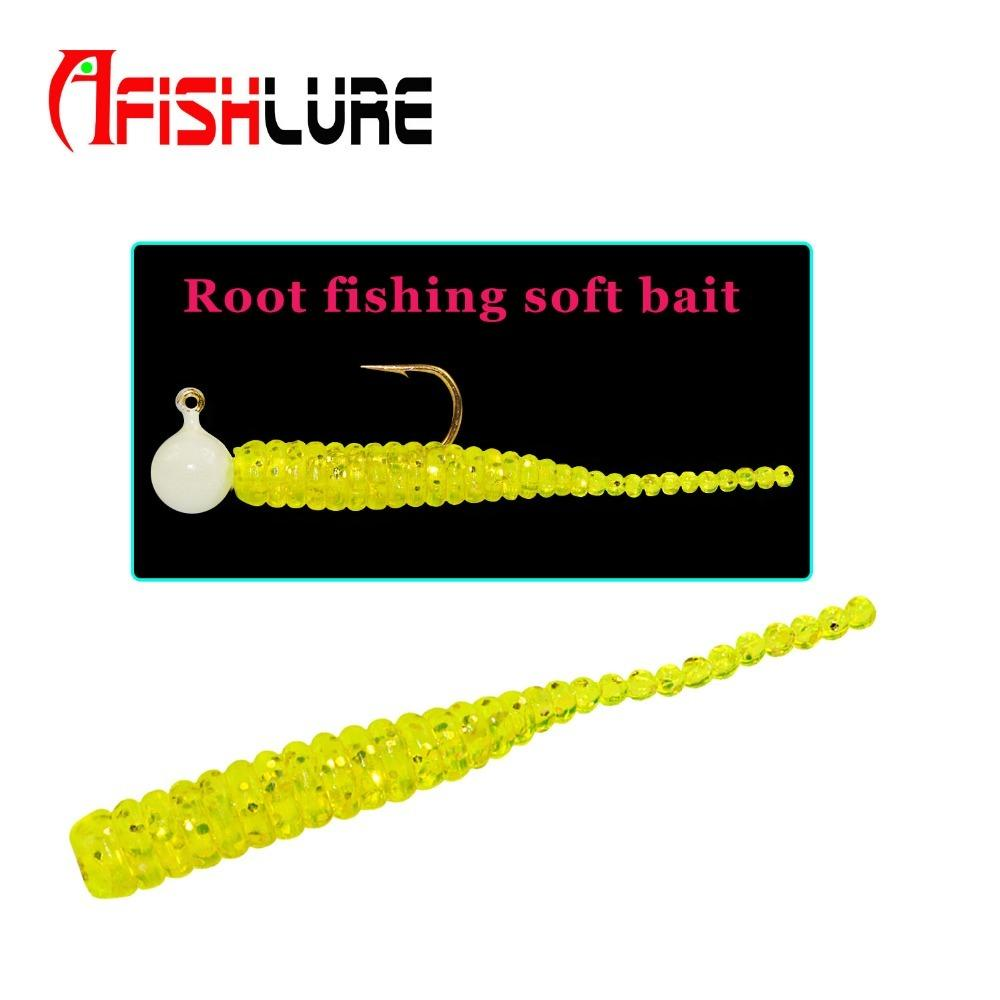 15pcs/bag Afishlure Single Tail Soft Bait 38mm 0.36g Root Fishing Soft Bait Artificial Lure Plastic Worm Maggot Bait Small Baits Y18100806