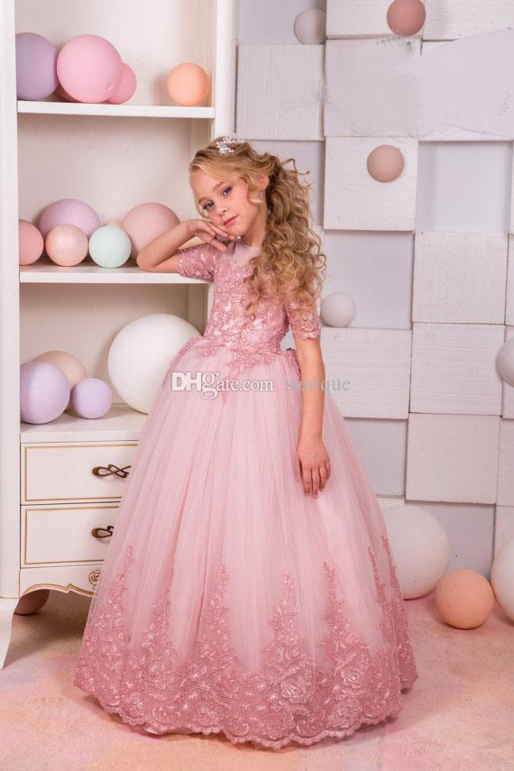 6a7852d72c Blush Pink Lace Tulle Flower Girl Dress Wedding Party Holiday Bridesmaid  Birthday Blush Pink Flower Girl Tulle Lace Dress Flower Girl Dresses Macys  Flower ...