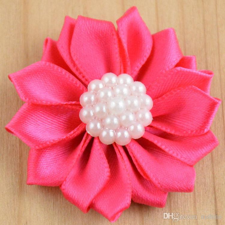 Nishine Satin Ribbon Multilayers Fabric Flowers With Acrylic Pearl for Headbands Without Clips Girl DIY Hair Accessories