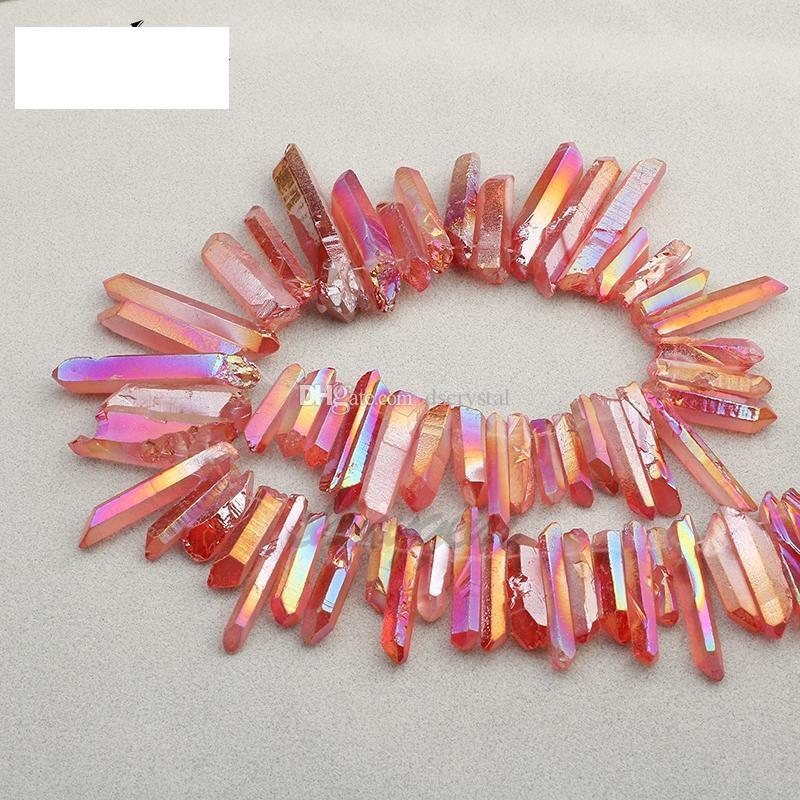 Cristal clair titane Pendentif 50 g de quartz naturel brut Baguette Rough Point Reiki Prism Cluster Collier Charms Craft