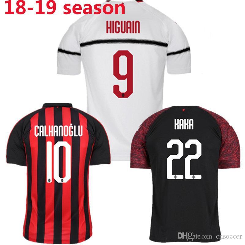 f34817d9f9f4d De Calidad Superior Del AC Milan En Casa Fútbol Jersey 18 19 Camiseta De  Fútbol Personalizada   10 CALHANOGLU   9 HIGUAIN Uniforme De Fútbol Al Por  Mayor ...