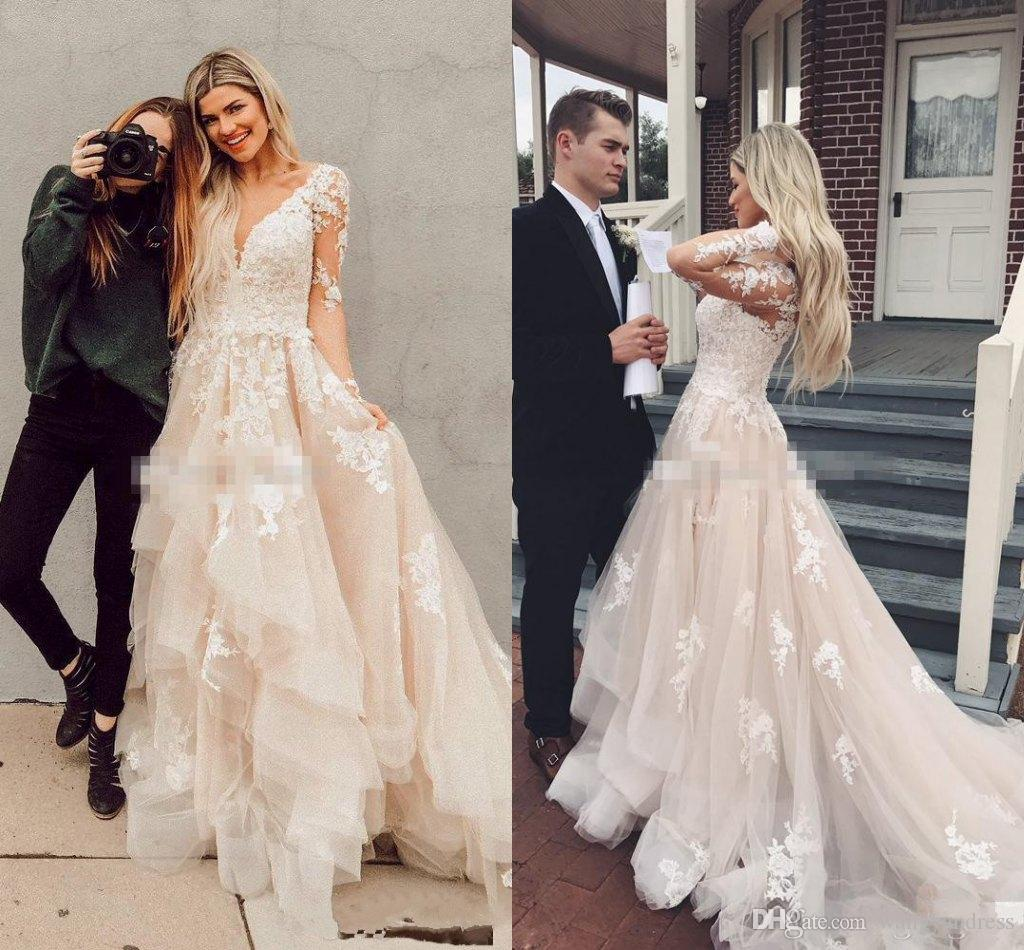 d4234a16711 Discount Illusion Long Sleeves Boho Wedding Dresses Layered Tulle Appliques  Lace A Line Bridal Dress Rustic Country Wedding Gowns Custom Pink Wedding  ...