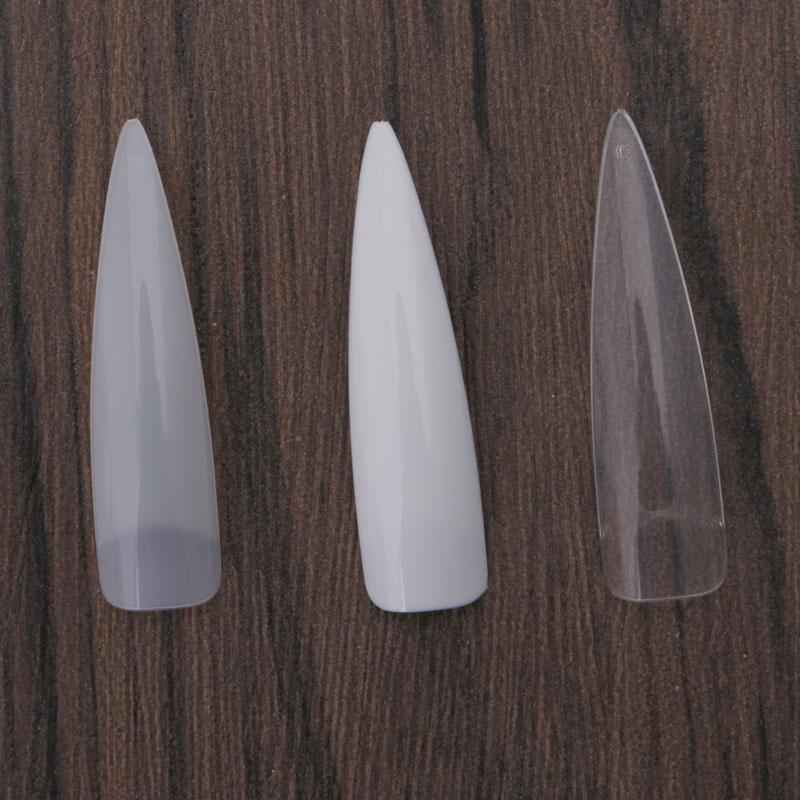 Sharp Long Faux Nail Art Conseils Acrylique Salon Blanc Naturel ...