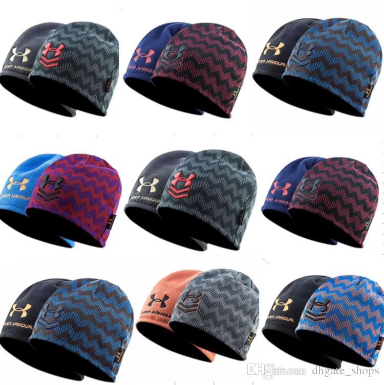 3027ad82921 2018 Brand UA Winter Reversible Beanie Hats Under Warm Striped Skullcap  Armor Fleece Hat Double Side Wear Cap Beanies Knitted Caps For Men Women  From ...