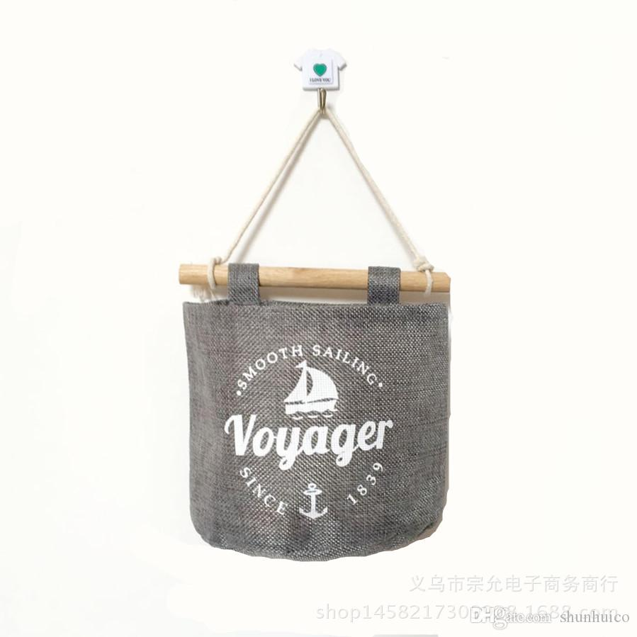 Hanging bag 4 pocket cotton linen wall hanging organizer bag multi-layer holder storage bag home decoration make up rack jewelry 16x16cm