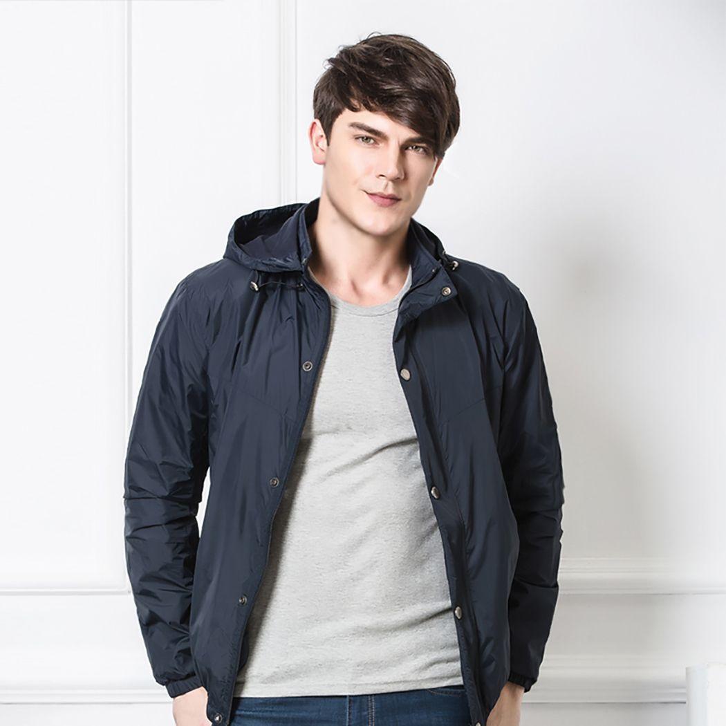 2018 New Casual Waterproof Rain Jacket Windproof Coat Raincoat Zip up Practical Hooded Poncho for Male