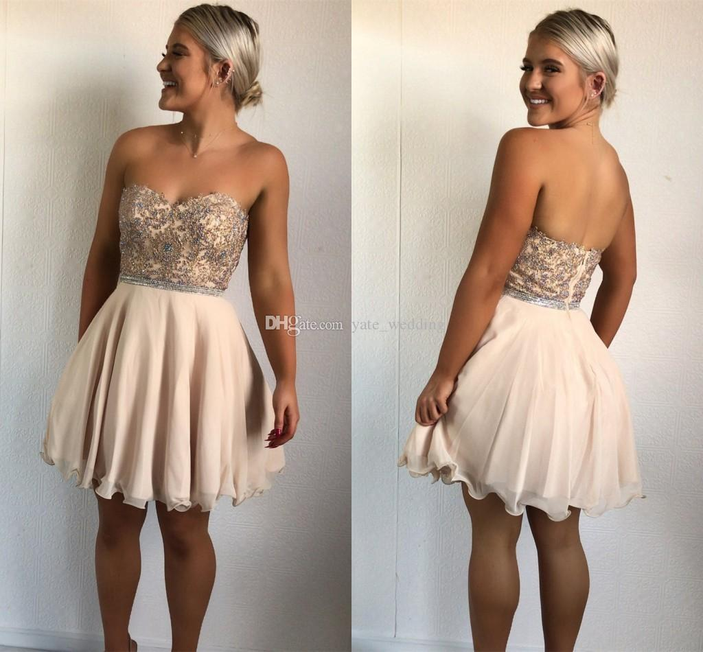 Gorgeous Champagne Short Homecoming Dresses 2019 Sweetheart Appliques  Beading Chiffon Plus Size Backless Prom Dresses Cocktail Party Dresses 2015  Homecoming ... 4ccaa5537