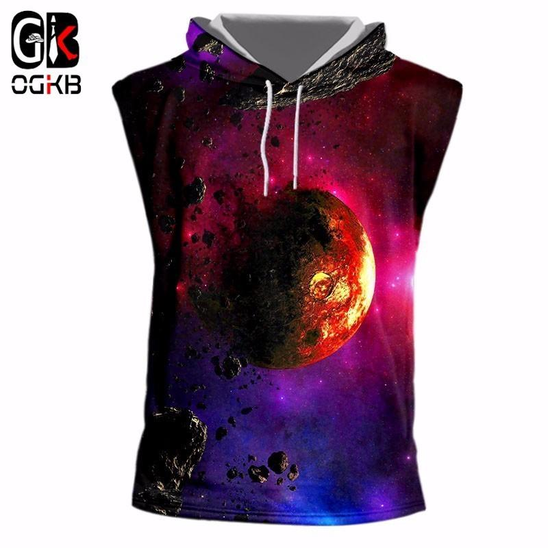Großhandel Ogkb Unisex T Shirts Sommer Tops Männer   Frauen Cool Print  Space Planet 3d Kapuzen Tank Top Homme Bodybuilding Fitness Sleeveless  Hoodie Von ... 2f2a807192