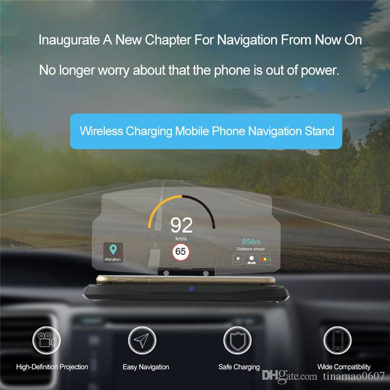 HUD Car Holder Wireless Charger Mobile Phone GPS Navigation Head Up Display Projector Bracket Image Reflector Wireless Charging Pad