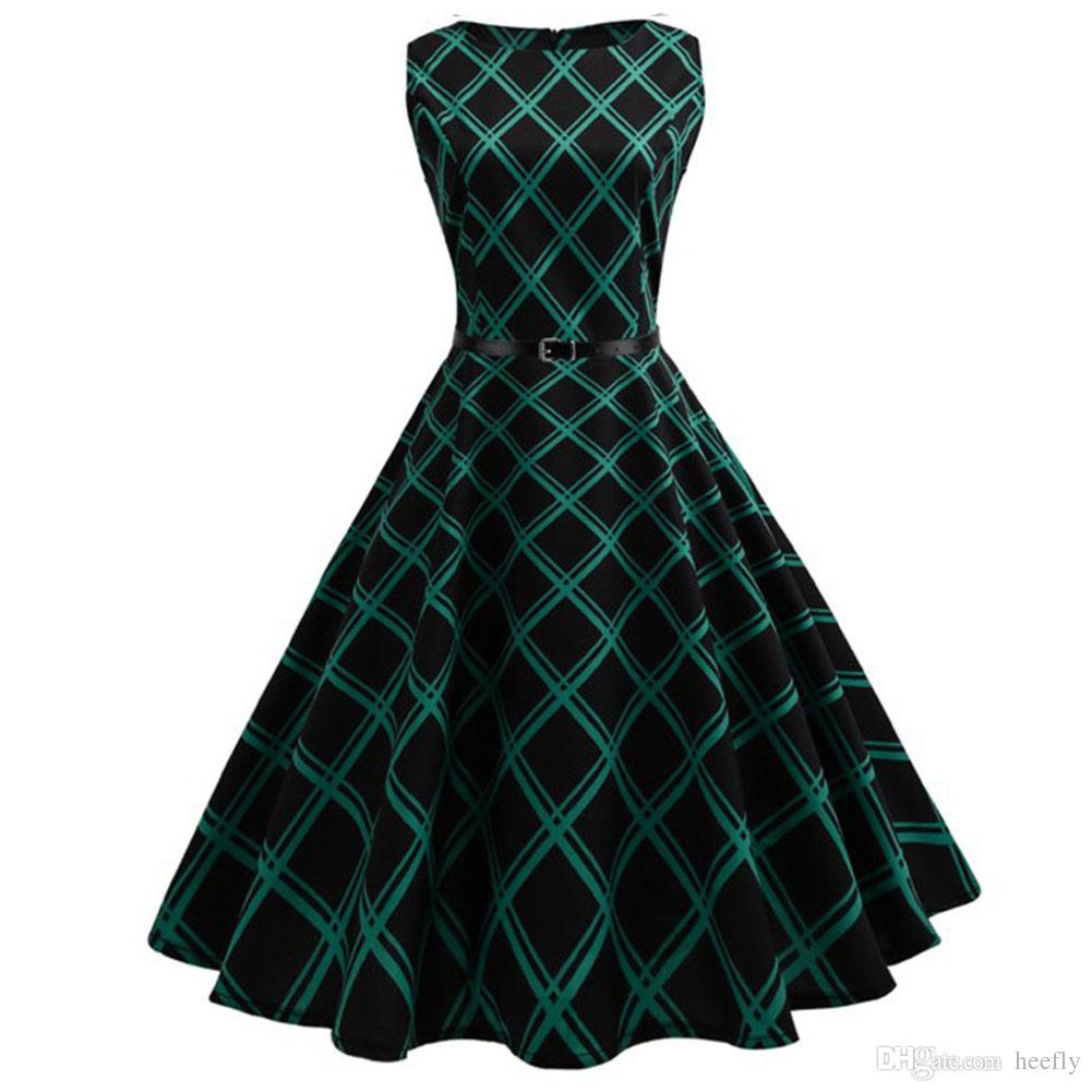 Floral Print Women Summer Dress Hepburn 50s 60s Retro Swing Vintage Dress A Line  Party Dresses With Belt Jurken Plus Size Dresses Uk Women Dresses From ... 62bb3eb4a8e2