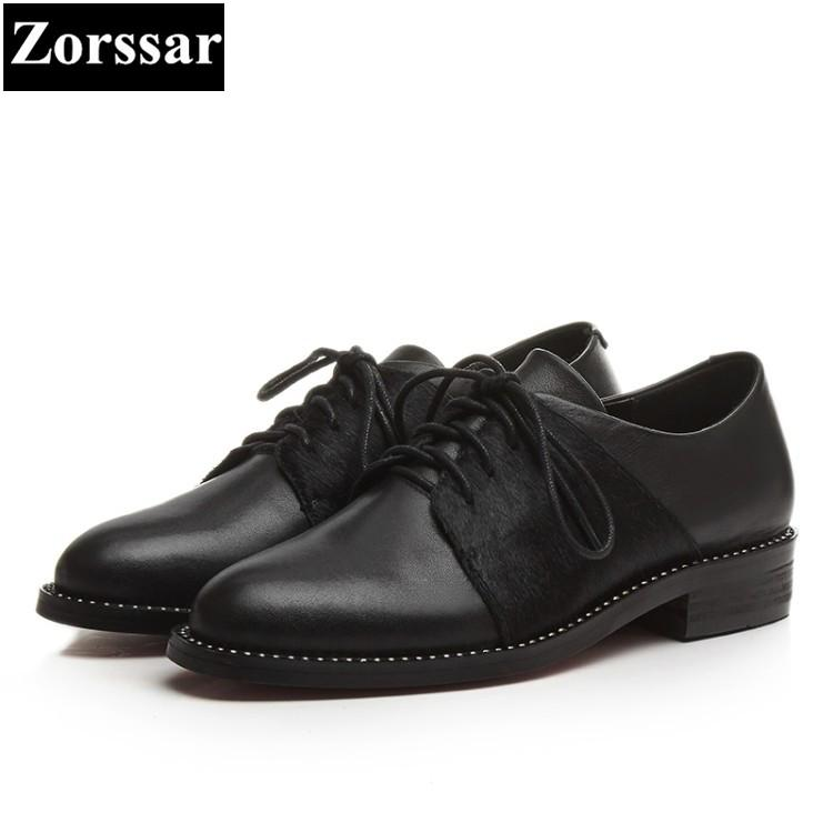 fd6ad5200d1 {Zorssar} Women Shoes flat heel Fashion Real leather Horse hair round toe  Women flats dress shoes Casual Womens Oxford