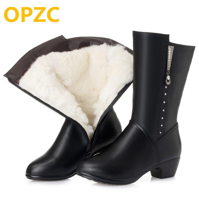 OPZC Ladies Boots For Winter 2018 New Genuine Leather Womens Dress Boot   e74b58a892