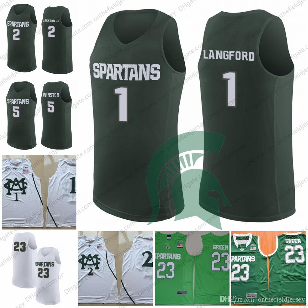 2019 Michigan State Spartans  1 Joshua Langford 2 Jaren Jackson Jr. 23  Xavier Tillman 5 Cassius Winston College Basketball Jerseys S 3XL From ... 87a10c1db