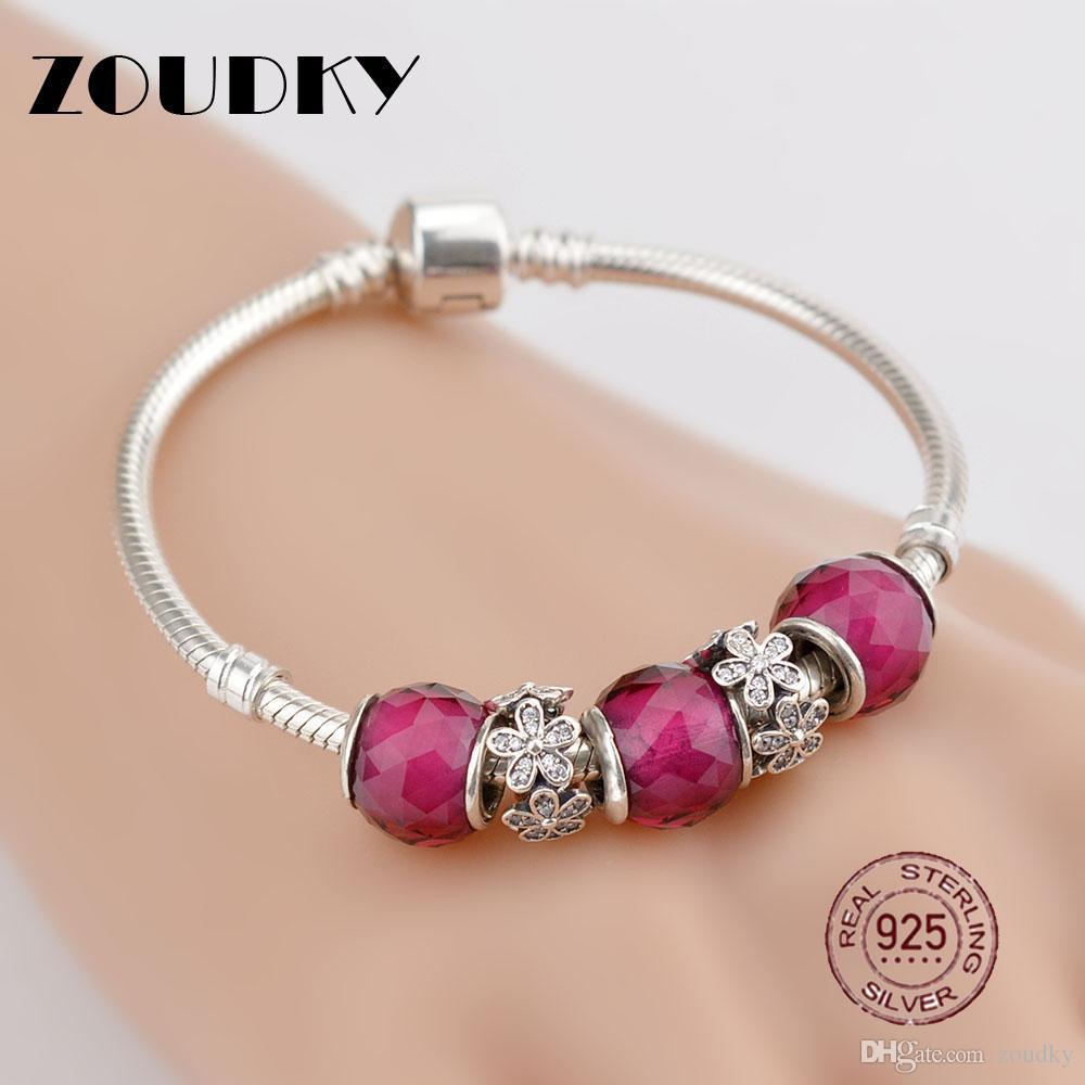 ZOUDKY Genuine 925 Sterling Silver Bracelet For Set Women Red flirtatious flower birthday Gift charm Bead Jewelry DIY bangle