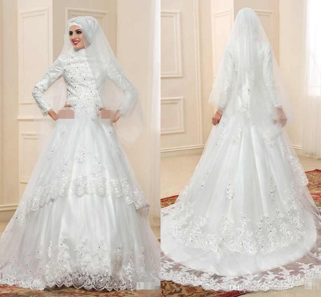 Discount 2018 Elegant Muslim Turtleneck Wedding Dresses With Long ...