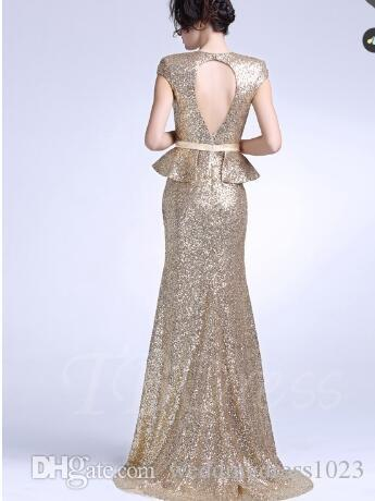 Sheath Square Cap Sleeves Split Front Sequins Evening Dress