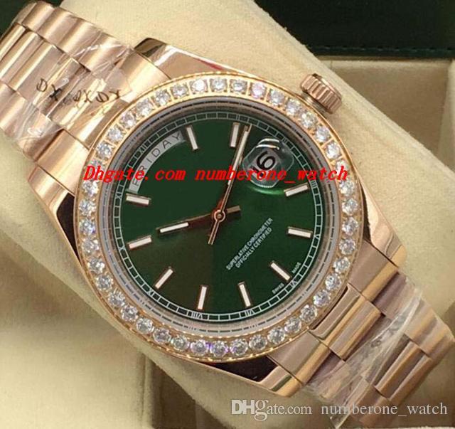 f6dd2511dbc8 Compre Relojes De Lujo Esfera Verde Rosa Oro Diamante Bisel 41 Mm Marca De  Moda Automática Reloj De Los Hombres Reloj Nueva Llegada A  74.12 Del ...