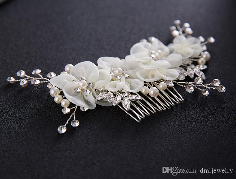 Bridal Wedding Hair Combs for Bride Pearls Crystal Bridal Hair Bands Party Bridal Headpieces Silk Flowers Headdress Hair Jewelry Accessories