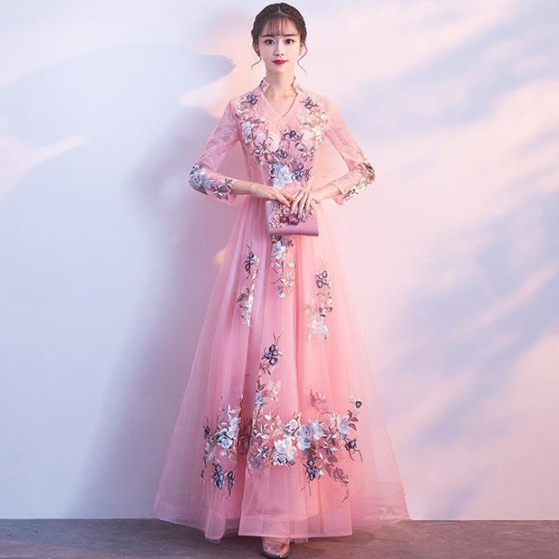 Kd1618 Pink Floral Print Women Dress Long Sleeve V Neck Summer ...