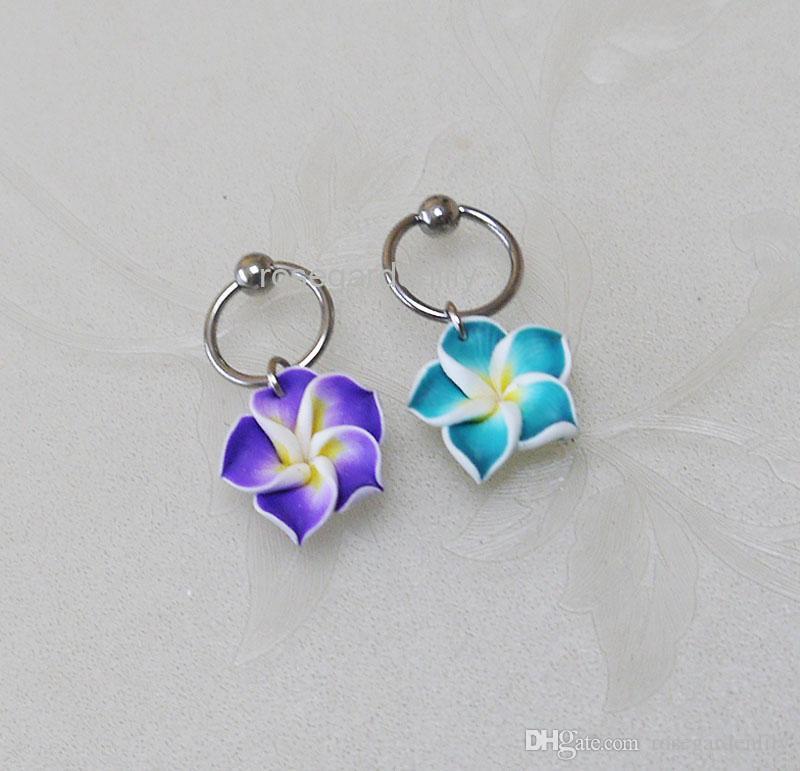 6d03d30499926 New 2Pcs 2 colors resin flowers CBR Captive Bead Ring , flowers hoop  cartilage Hoop Earring Tragus Helix Piercing ,earring