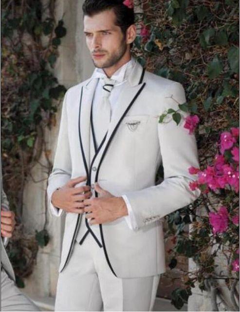 Customize Ivory Man Blazer Suit Groom Tuxedos Peak Lapel Groomsmen Men Wedding Holiday Clothing Suits Jacket+Pants+Tie+Vest NO:070