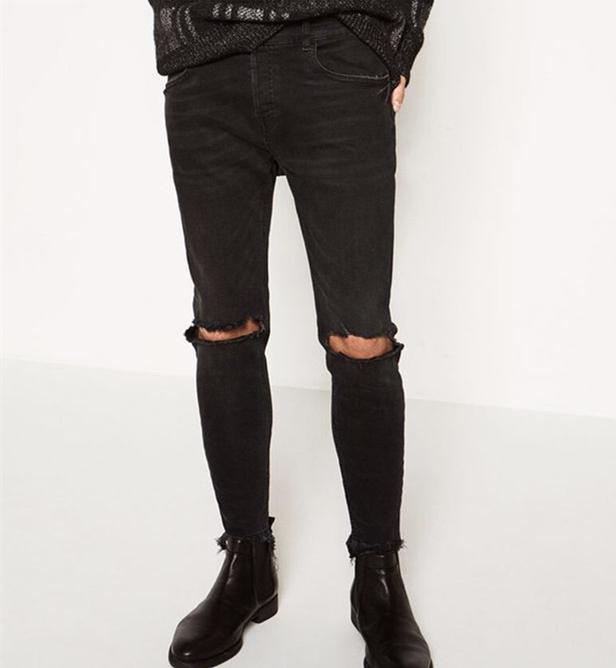 2019 Skinny Jeans Men Black Classic Fashion Men Jeans Destroyed Slim