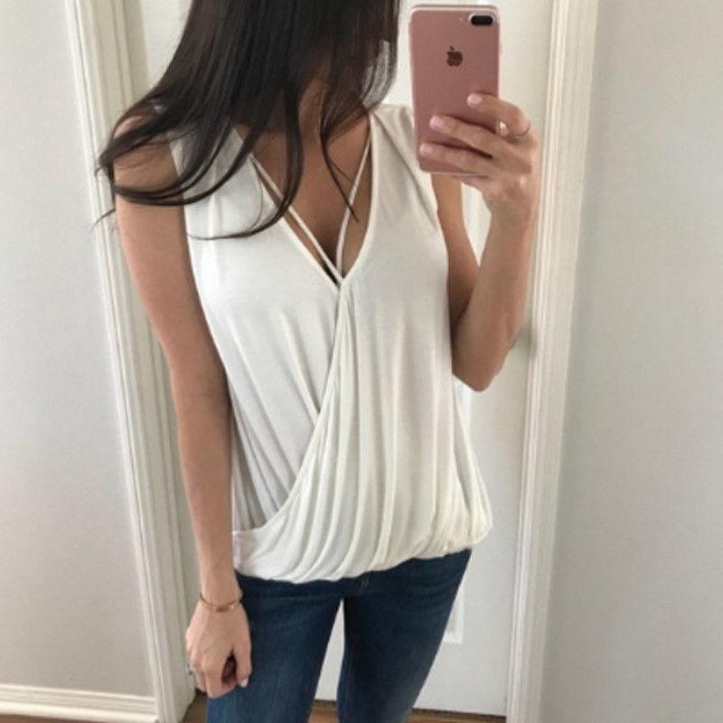 3be6b386407c 2019 Summer Women Fashion Cotton Tank Tops Sleeveless T Shirt Blouse Vest  Casual Tank Tops Women Female Chiffon V Neck Camis From Meicloth