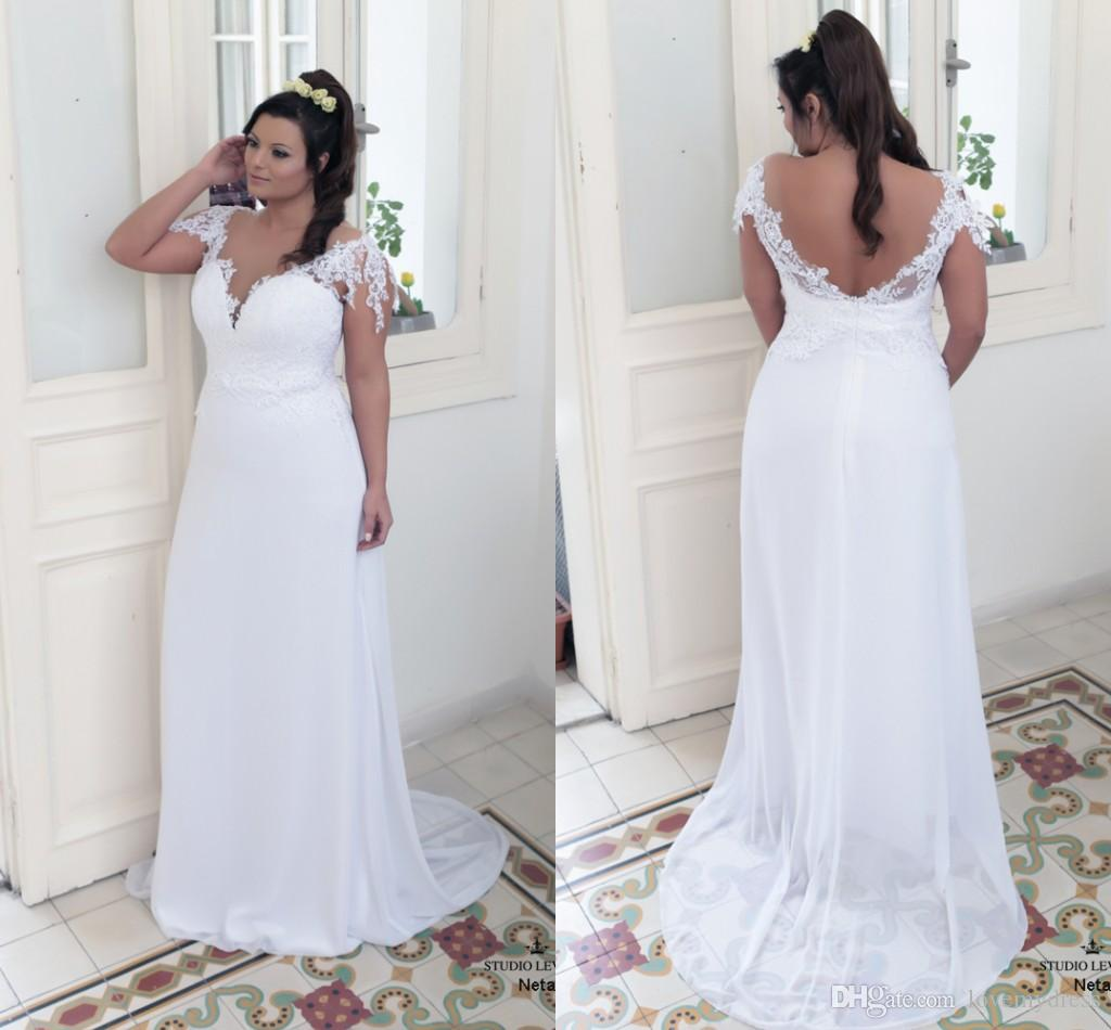 ca8a1de4ed28 2018 Sexy Deep V Neck Open Back Wedding Dresses Plus Size Applique Lace  Beach Stylish With Short Sleeves Chiffon Bridal Gowns Ball Gown Wedding  Dresses ...
