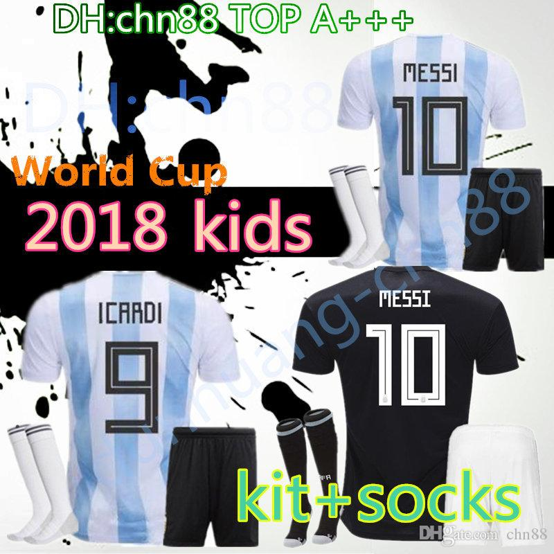 ba407a39ef1 New 2018 ARGENTINA kids kits+socks soccer Jersey 17/18 MESSI home DI MARIA  MARADONA football shirt customize World Cup Best Quality Jerseys