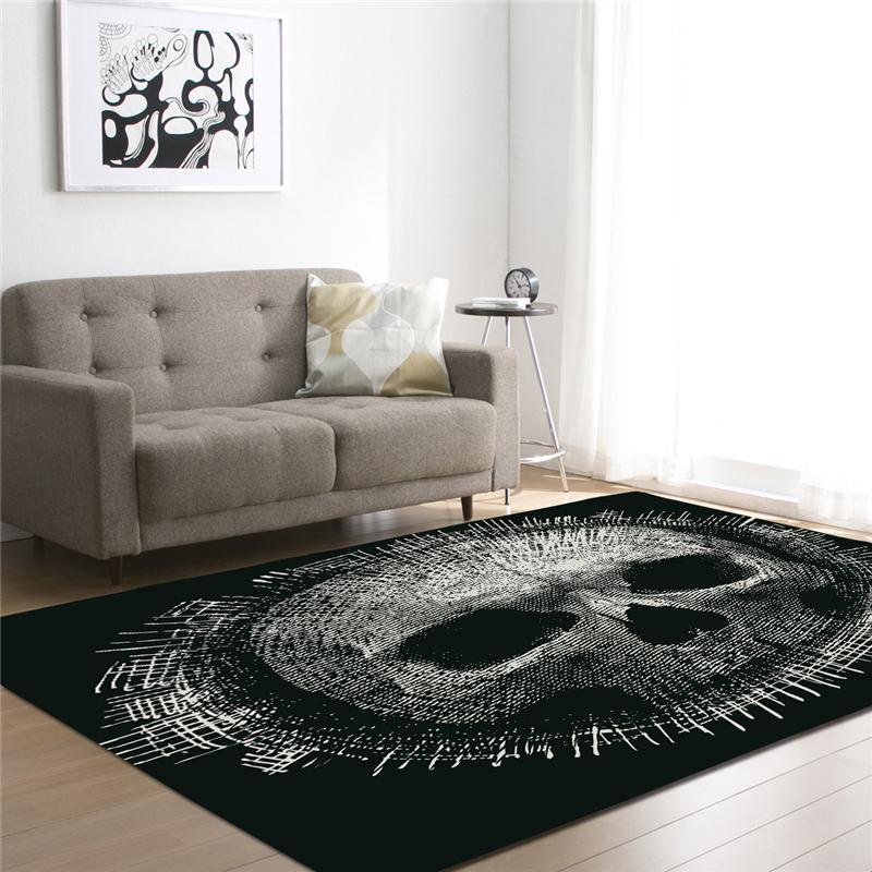 3d Sugar Skull Printed Black Carpets For Living Room Bedding Room