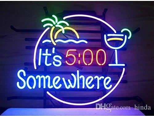 It's 5:00 somewhere Sign DIY Glass LED Neon Sign Flex Rope Light Indoor/Outdoor Decoration RGB Voltage 110V-240V 17*14 inches