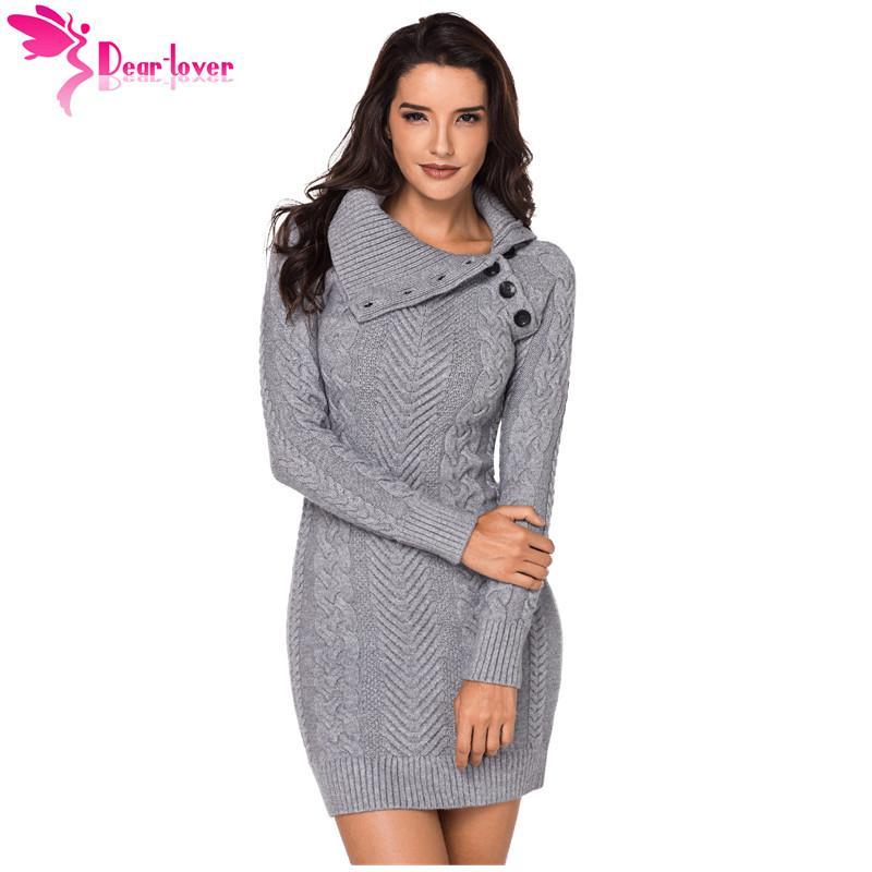 52e429f415e2cf Lieber Liebhaber Pullover Kleid Frau Winter Asymmetrische geknöpft Kragen  Schwarz Bodycon Warm Strickkleid Vintage Pullover Femme LC27864