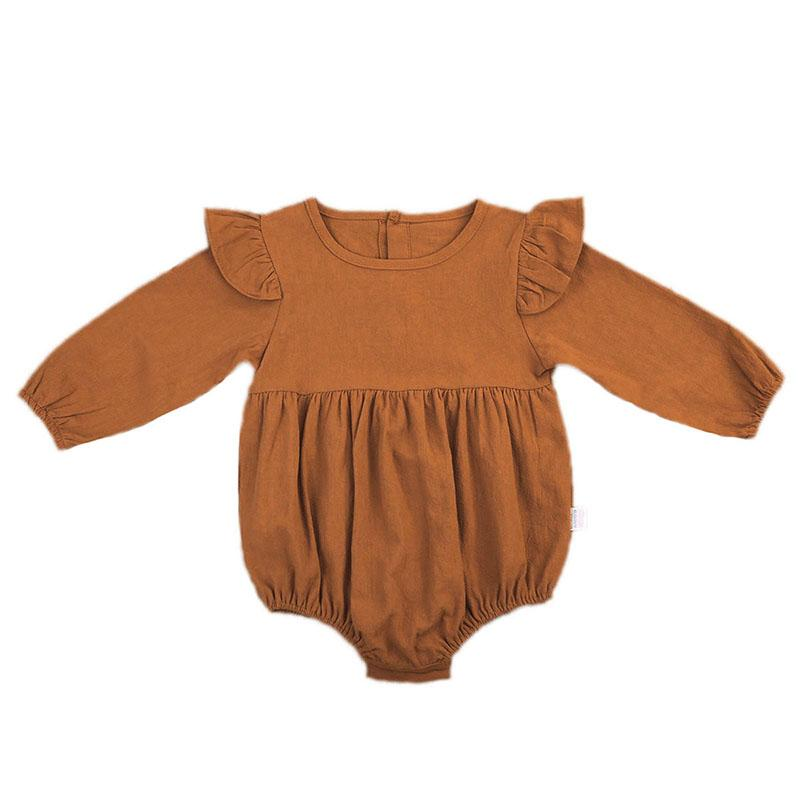820604fba957 2019 Cute Newborn Baby Girl Romper 2017 Autumn Long Sleeve Solid Color  Ruffles Toddler Kids Jumpsuit One Pieces Clothes 3M 3Y From Namenew