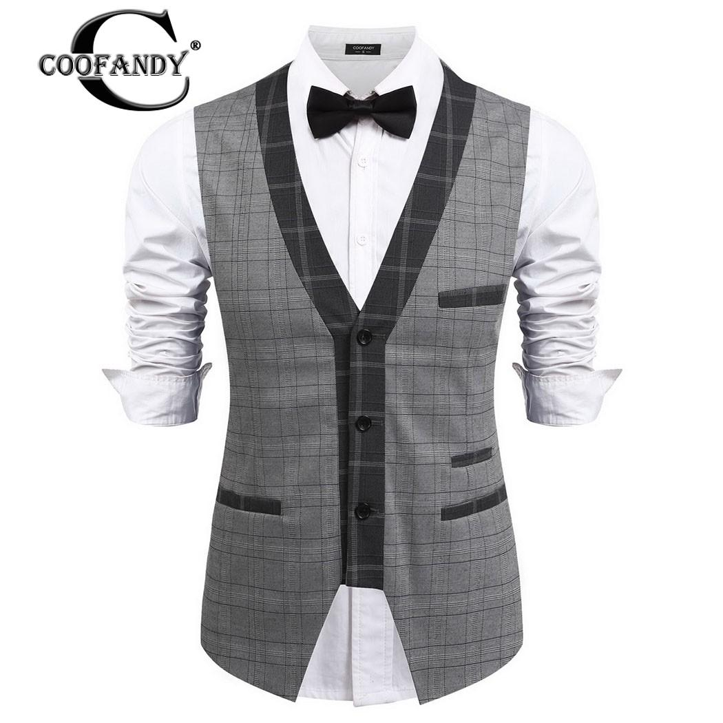 6557f94e2fd COOFANDY 2017 Newest Male Clothes Men Single-Breasted Button Down Plaid  Slim Fit Leisure Business Vest Waistcoat
