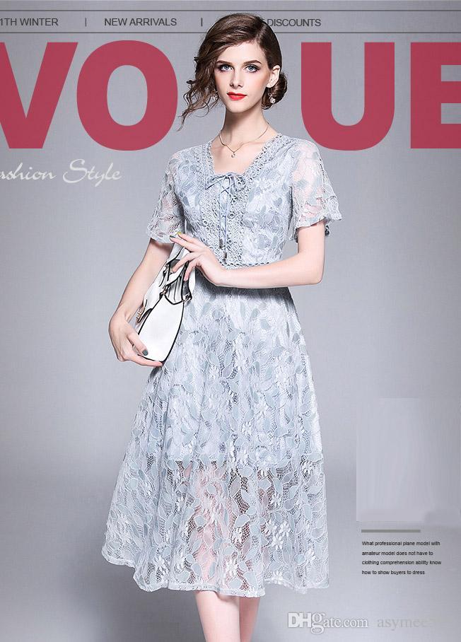 a46547487c4 2018 Women Fashion Elegant Summer Lace Patchwork Dresses