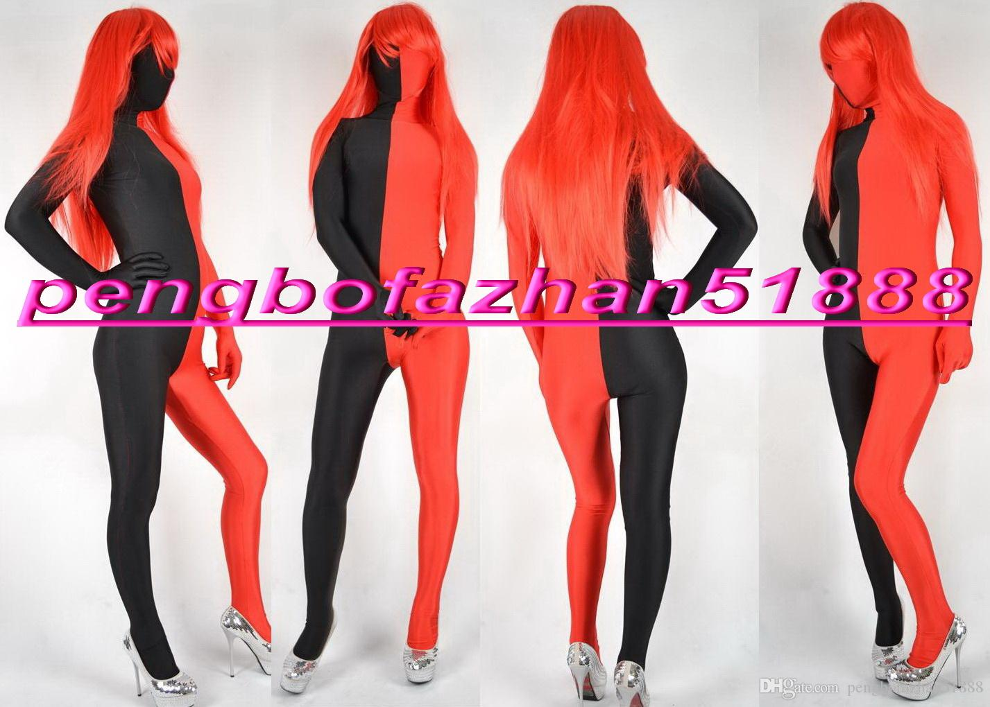 33bd6af2ecfe 2019 Sexy Suit Outfit New Black Red Lycra Spandex Catsuit Costumes Unisex  Sexy Bodysuit Costumes Halloween Party Fancy Dress Cosplay Suit P211 From  ...