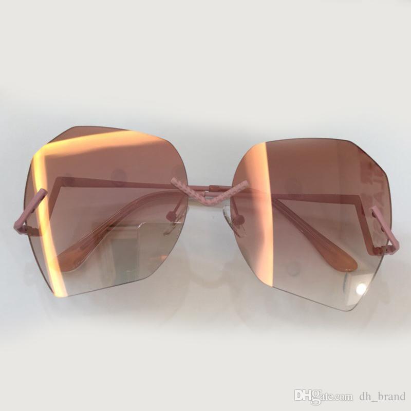 High Quality Fashion Sunglasses Women Gradient Shades Polygon Brand Designer Geometry Unique Frameless Sun Glasses UV400