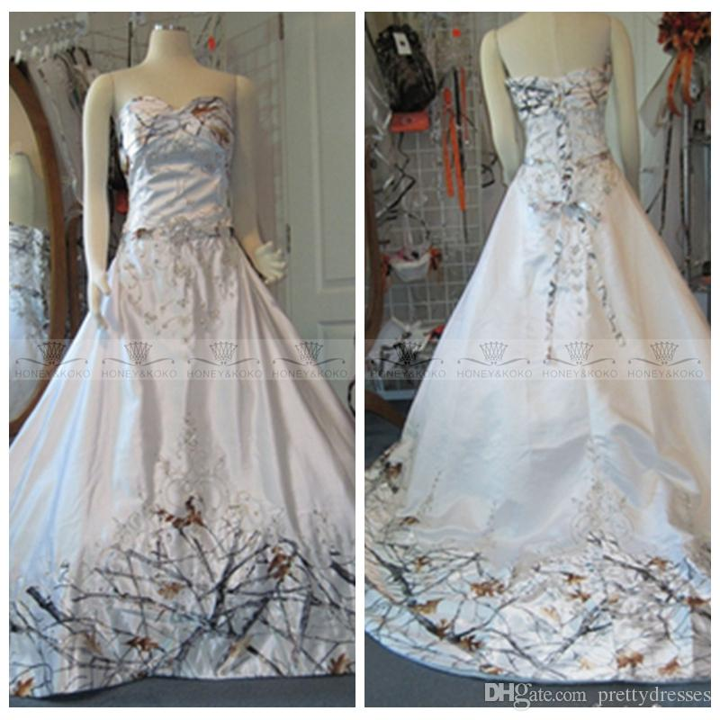de6e1c95776 Discount 2018 White Camo Real Tree Camouflage Wedding Dresses Beaded Bridal  Gowns Snowfall Custom Lace Up Back Wedding Gown Plus Size Summer Wedding  Dresses ...