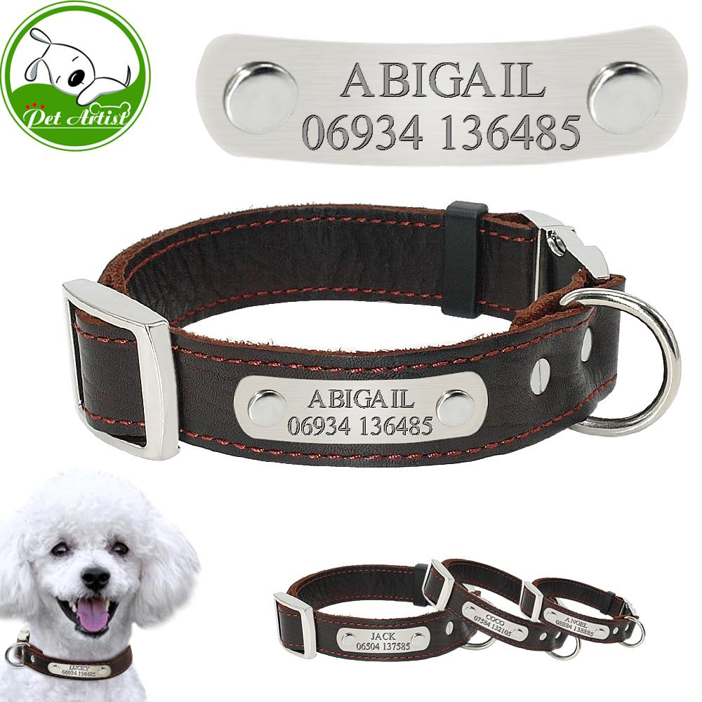 2018 leather engraved pet dog collars personalized custom dog puppy