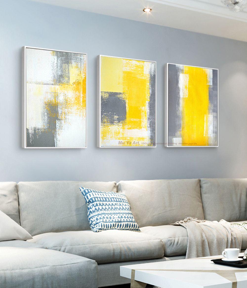 Großhandel Muya 3 Stück Leinwand Malerei Abstrakte Ölgemälde Handgemachte  Helle Gelb Grau Wandkunst Leinwand Wandbilder Für Wohnzimmer Von  Yingpangpan, ...